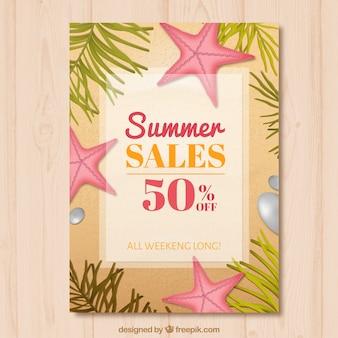 Starfishes와 여름 판매 브로셔 무료 벡터
