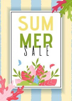 Summer sales card with stripes and foliage design