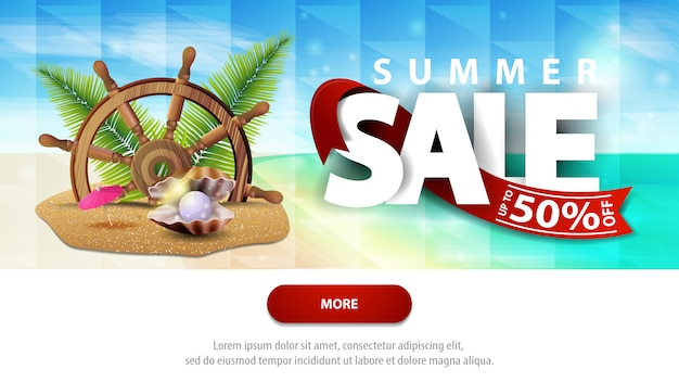 Summer sales, discount web banner template for your website with beautiful seascape