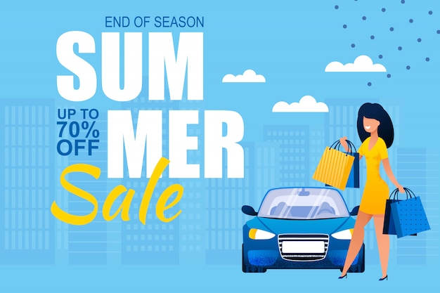 Summer sales at end of season. ad banner with pretty happy woman carrying shopping paper bags and standing near car on cityscape.