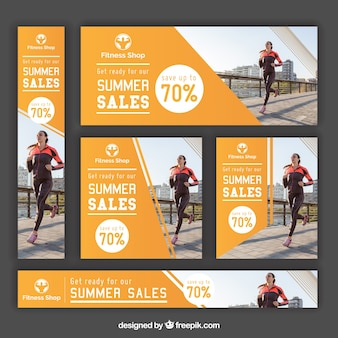 Summer sales fitness banners set