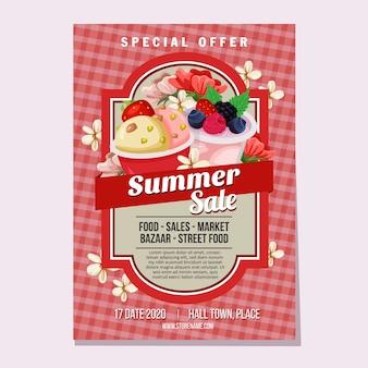 Летние продажи флаер шаблон рынка мороженого тема векторные иллюстрации