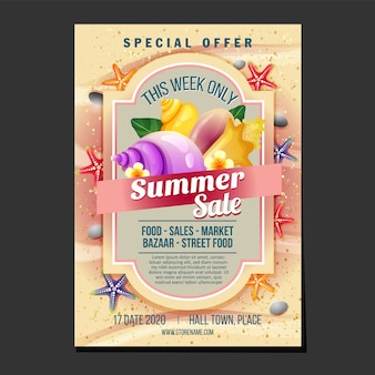 Summer sales flyer template sand beach texture theme