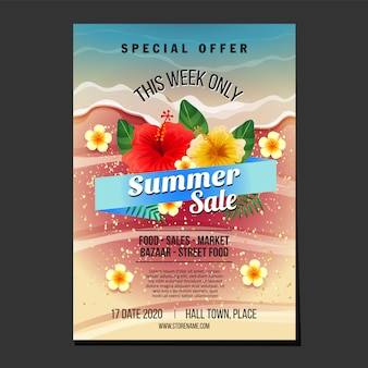 Summer sales flyer template sand and wave beach texture theme