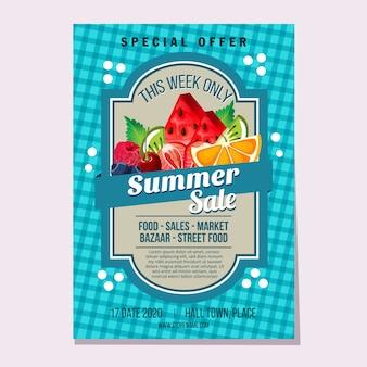 Летняя распродажа фруктов свежий рынок тема иллюстрации