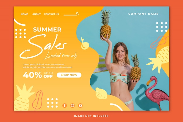 Summer sales landing page template