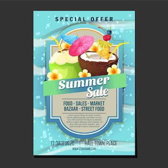Summer sales poster template sea texture theme cocktail drink vector illustration