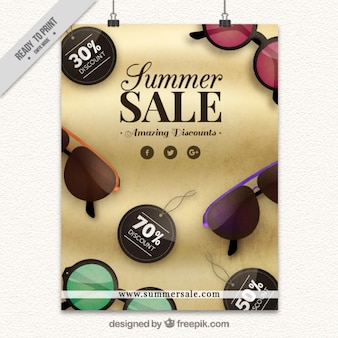 Summer sales poster with realistic sunglasses
