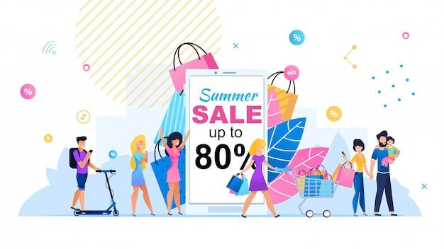 Summer sales up to 80 percent flat banner template