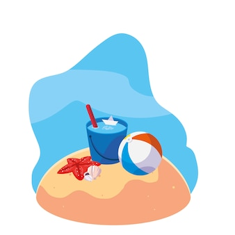 Summer sand beach with balloon toy and icons