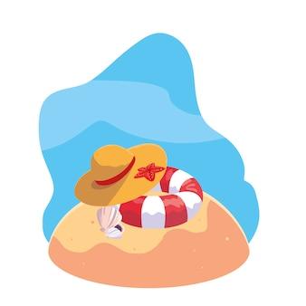 Летний песчаный пляж с поплавком и иконками