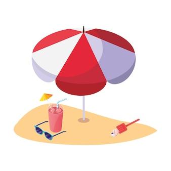 Летний песчаный пляж с зонтиком и коктейлем