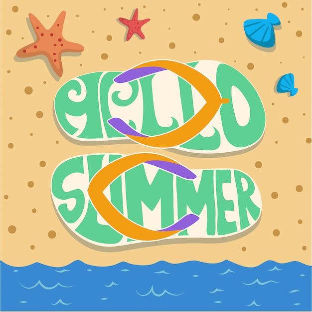 Summer sandal beach sand party vector