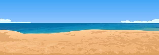 Summer sandy beach and sea horizon