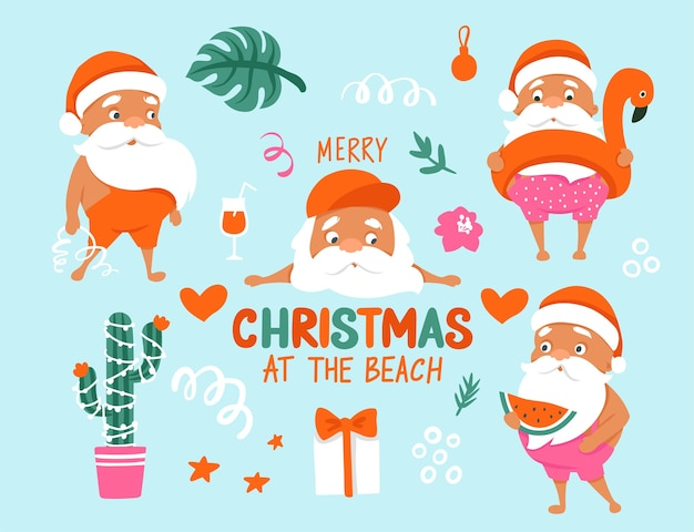 여름 산타 캐릭터. 따뜻한 기후 컬렉션에서 열대 크리스마스와 새해 복 많이 받으세요.