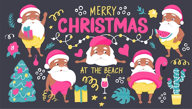 Summer santa characters. tropical christmas and happy new year in a warm climate collection
