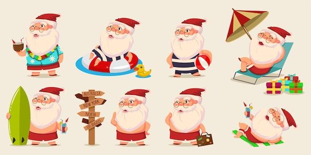 Summer santa claus in shorts cartoon characters set