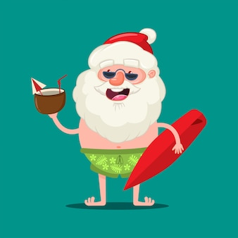 Summer santa claus in sunglasses and shorts with a coconut cocktail and surfboard.