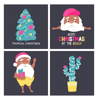 Поздравительные открытки летнего санты. тропическое рождество и новый год в теплом климате. симпатичные векторные плакаты санта-клауса.