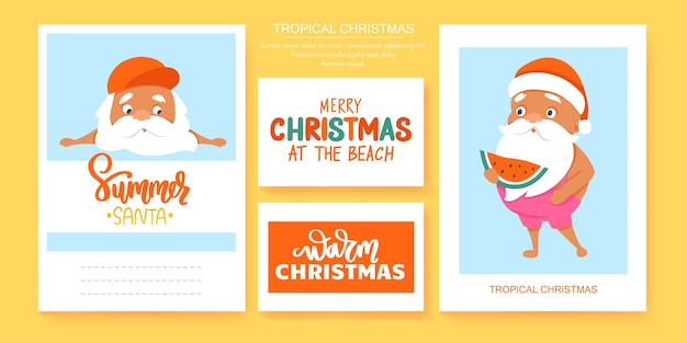 Summer santa's greeting cards.  tropical christmas and happy new year in a warm climate design. cute santa claus posters.
