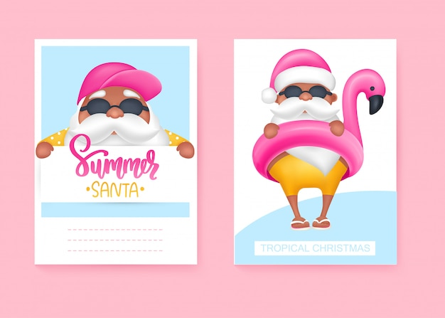 Summer santa's greeting cards. vector illustration. tropical christmas and happy new year in a warm climate design.