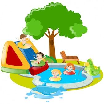 Summer scene of children playing