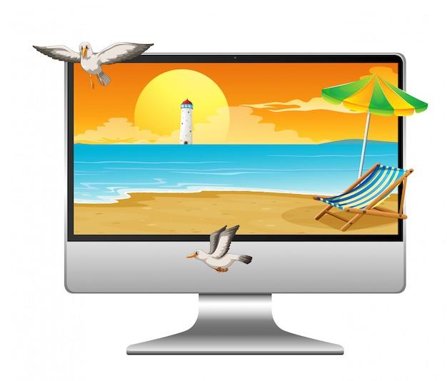 Летняя сцена на рабочем столе компьютера
