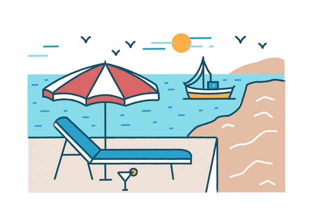 Summer scenery with sunlounger, cocktail and umbrella standing against yacht sailing in sea or ocean, beach and sun on background.