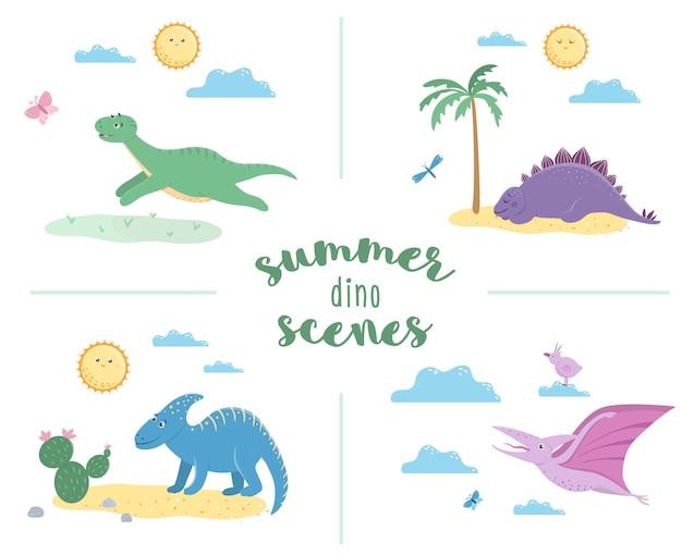 かわいい恐竜の夏のシーン。ディノス再生、睡眠、日光浴、ランニングのイラスト。子供のための面白い先史時代の爬虫類のイラスト