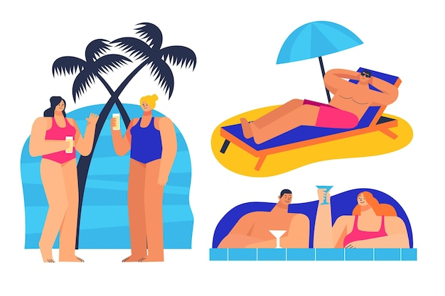 인물 컬렉션이있는 여름 장면