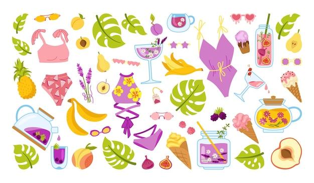 夏のスクラップブック漫画セット。夏のアイスクリーム、カクテルジャー、ビキニ、モンステラケトル、イチジク、お茶、パパイヤ