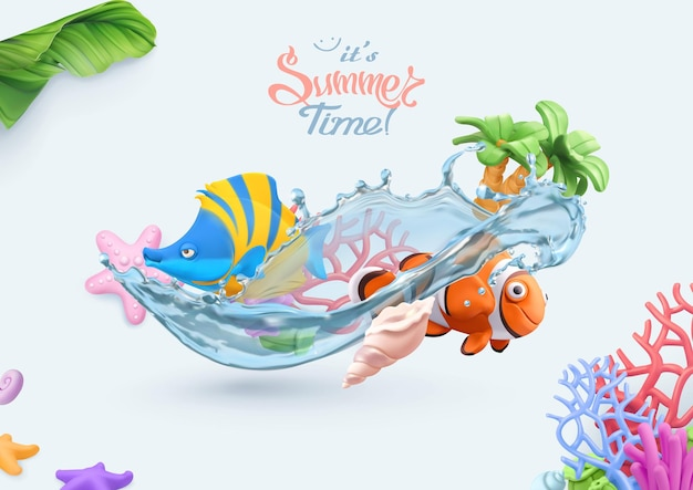 Summer, sea 3d card with coral reef, tropical fish, starfish, seashell objects