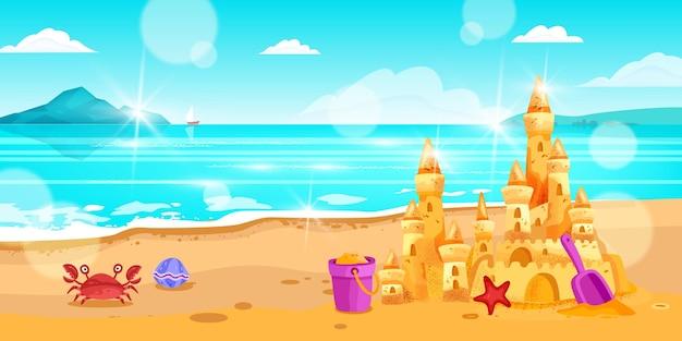 夏の海のビーチの風景海の背景砂の城の塔カニのシャベルバケツ