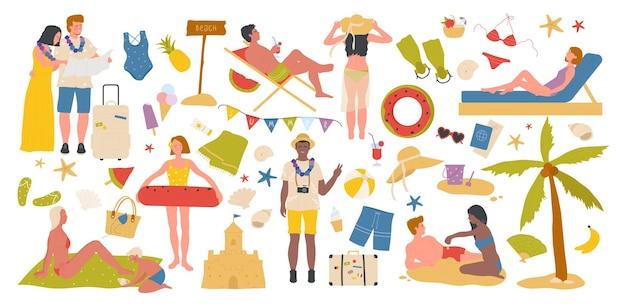 Летние морские пляжные каникулы люди на тропической праздничной вечеринке набор приморской коллекции