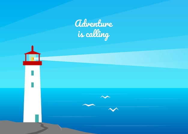 Summer sea landscape background. lighthouse by the sea, ocean.