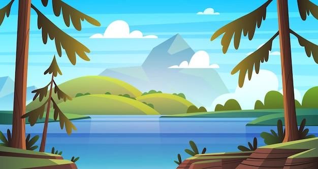Летний морской пейзаж. панорама побережья океана, залив с растительностью и соснами, летняя природа, солнечные горы, мультяшный векторный фон