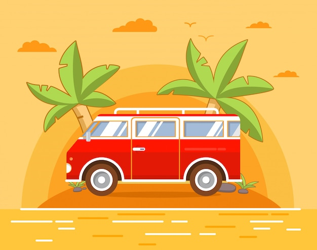 Летний морской пейзаж с тропическим островом с пальмами и песчаным пляжем. ретро винтажный фургон для поездок в отпуск и путешествия.