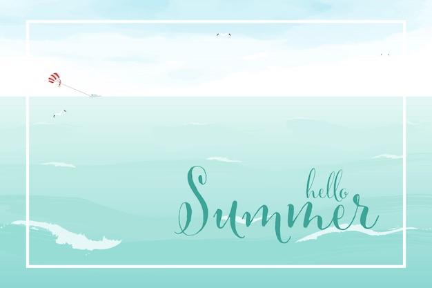 Summer sea ocean breeze background watercolor style