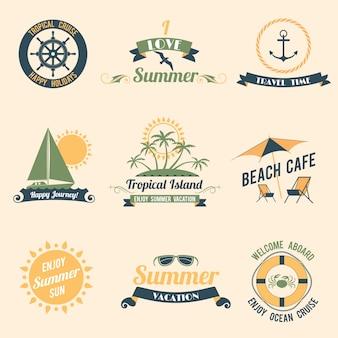 夏、海、レトロ、休暇、熱帯、クルーズ、幸せ、休日、ラベル、セット、