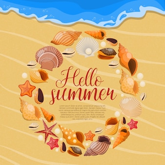 Summer sea shells with round shells frame and title hello summer