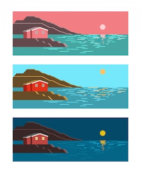 여름 바다 태양 새벽 정오와 밤 화려한 풍경
