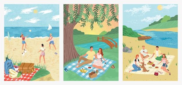 熱帯のビーチの休日のコンセプトイラストデザイン