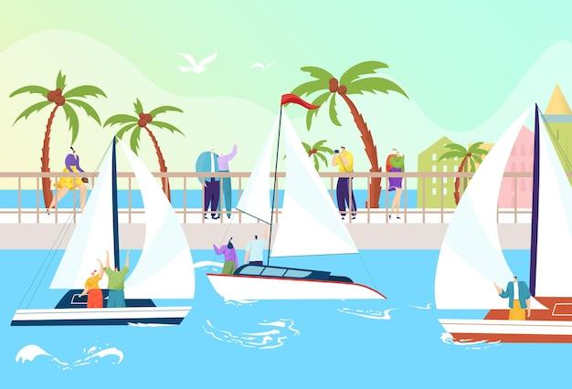 Летний морской водный туризм иллюстрация