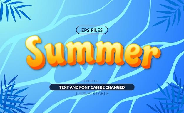 여름 바다 물결 편집 가능한 텍스트 효과.
