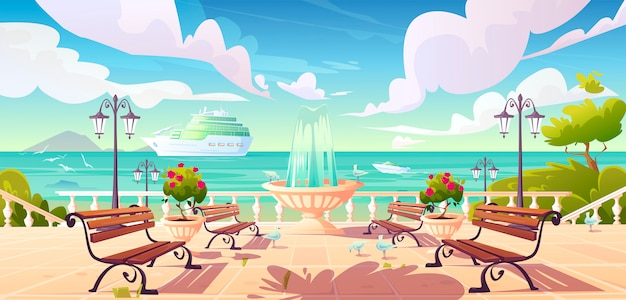 Летняя набережная с круизным лайнером в океане