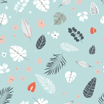 Summer seamles background with tropical leaves and flobers in gental colors