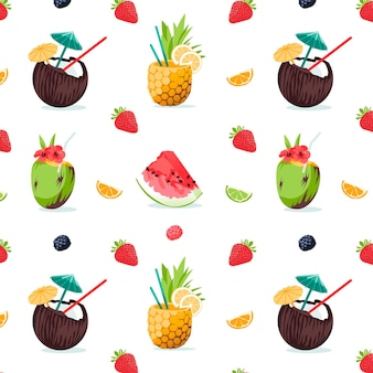 Summer seamless cute colorful pattern with tropick cocktails pineapple watermelon berry strawber