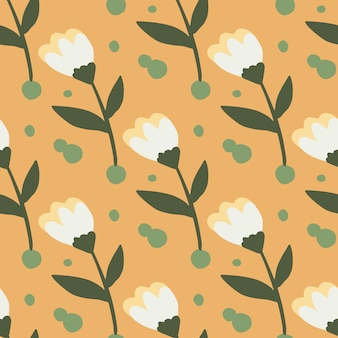 Summer seamless floral pattern with flower simple silhouettes. white buds and brown stems on orange background.