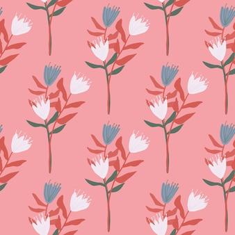 チューリップの花束と夏のシームレス花柄。赤い葉と青と白の花。ピンクの背景。