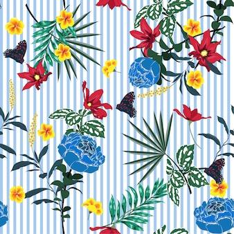 Summer Seamless garden flowers pattern